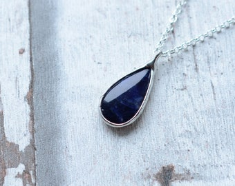 sodalite necklace  / silver plated chain  /
