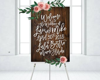 Wooden Welcome Sign White Bold Calligraphy Dark Walnut Wood Madina Script Messy Brush Ink Wedding PRINTED on Paper • Foam Board • or Canvas