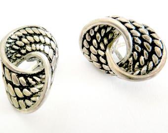 Clip on Earrings Vintage Silvertone