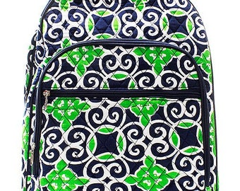 Geometric Print Large Quilted Backpack or Diaper Bag Navy/Green