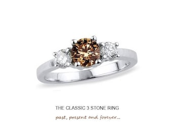 1.00 Carat Round Brilliant Chocolate 3 Stone Ring in 925 Sterling Silver & 14K White Gold Finish
