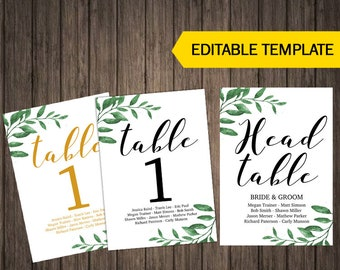 Simple Table Numbers Table Decor Printable Wedding Table Cards Greenery Table Number Tags Template Printable Digital Editable
