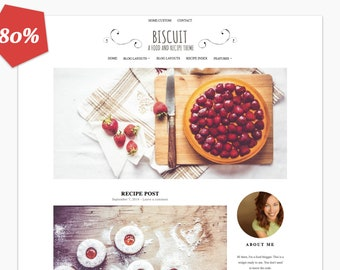 80% OFF - Biscuit  - Food and Recipe Wordpress Theme - Woocommerce - Premade - Self Hosted - Wordpress Blog Theme - Responsive