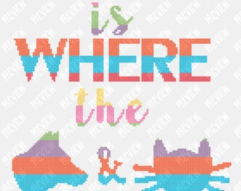 Home Is Where The Dog & Cat Is -  Counted Cross Stitch PDF Pattern - Instant Download
