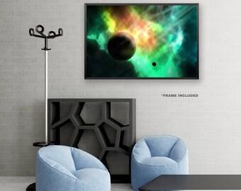 Framed Green and Orange Space Poster Art, Framed Universe Art Poster