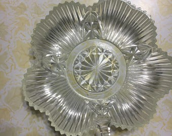 Glass Clover Shaped Candy Dish