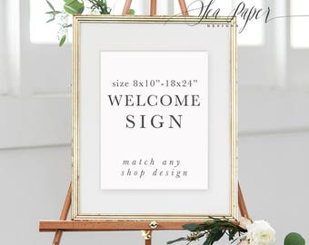 Party Welcome Sign, Printed or Digital - Made to Match Any Design - Bridal, Baby, Birthday, Baptism Sign - Sea Paper Designs