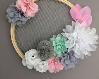 Wall decoration in pinks, gray and mint fabric flowers