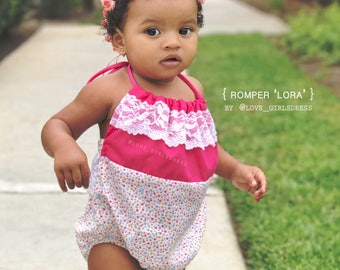17 Hot pink and lace Romper, baby summer romper, baby lace romper, baby sunsuit, baby spring romper