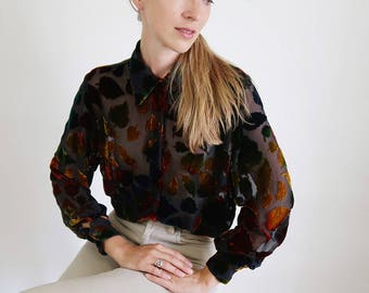 Stunning Sheer Silk Blouse with Red and Gold Leaf Pattern