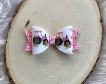 Pink Tractor Bow, Girls pink Tractor Hair Bow, Country Girl Hair Bow