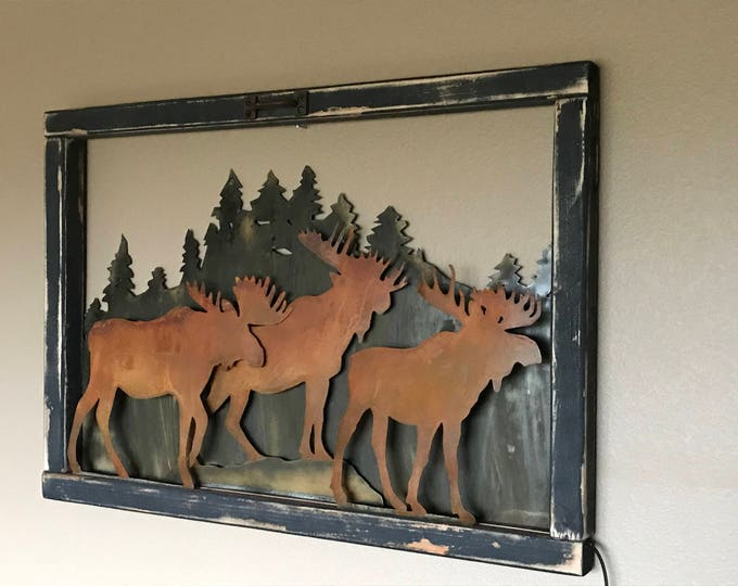 Vintage Window, Rustic Sign, Mountain decor, Moose Decor, Rustic Decor, Farmhouse Decor, Hunting decor, Rustic Home Decor, Cabin Decor