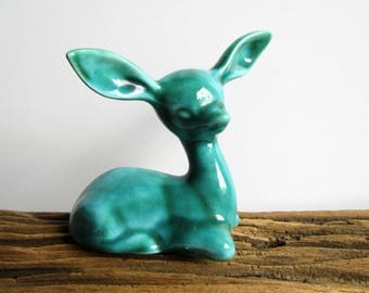 Fawn / deer - Anglia Pottery turquoise glazed ceramic darling deer with big ears and huge personality! Vintage ornament retro style pottery