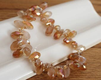 Copper Frost Sinox Faceted Crystal Teardrop Beads. 12x6mm. 50 Beads. 8 Inch Strand. Crystal Jewelry Beads. #587