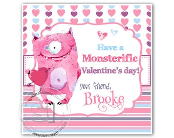 "Valentine's cute pink Monster 2.5"" Printable Tags-Happy Valentines Personalized Tags, funny Valentine (You Print) 2.5"" tags-stickers"