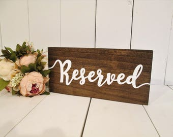 Wood reserved sign, reserved, reserved seating sign, wood wedding sign, rustic wedding sign, hanging reserved sign, reserved chair sign