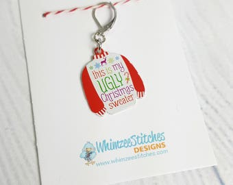Ugly Christmas Sweater Progress Keeper Marker Stitch Marker - 6mm lever back (silver toned) PK0022