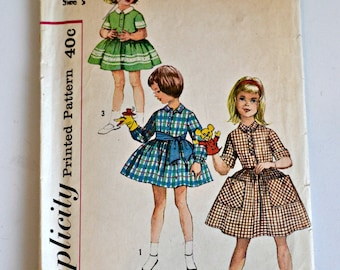 Simplicity Pattern 3563 - Size 5 - Child's One-Piece Dress and Tie Belt - 1960's Girl's Pattern