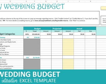 Savvy Wedding Budget - Turquoise - Wedding Budget Planner | Excel Wedding Budget Wedding Expenses Tracker | Instant Digital Download