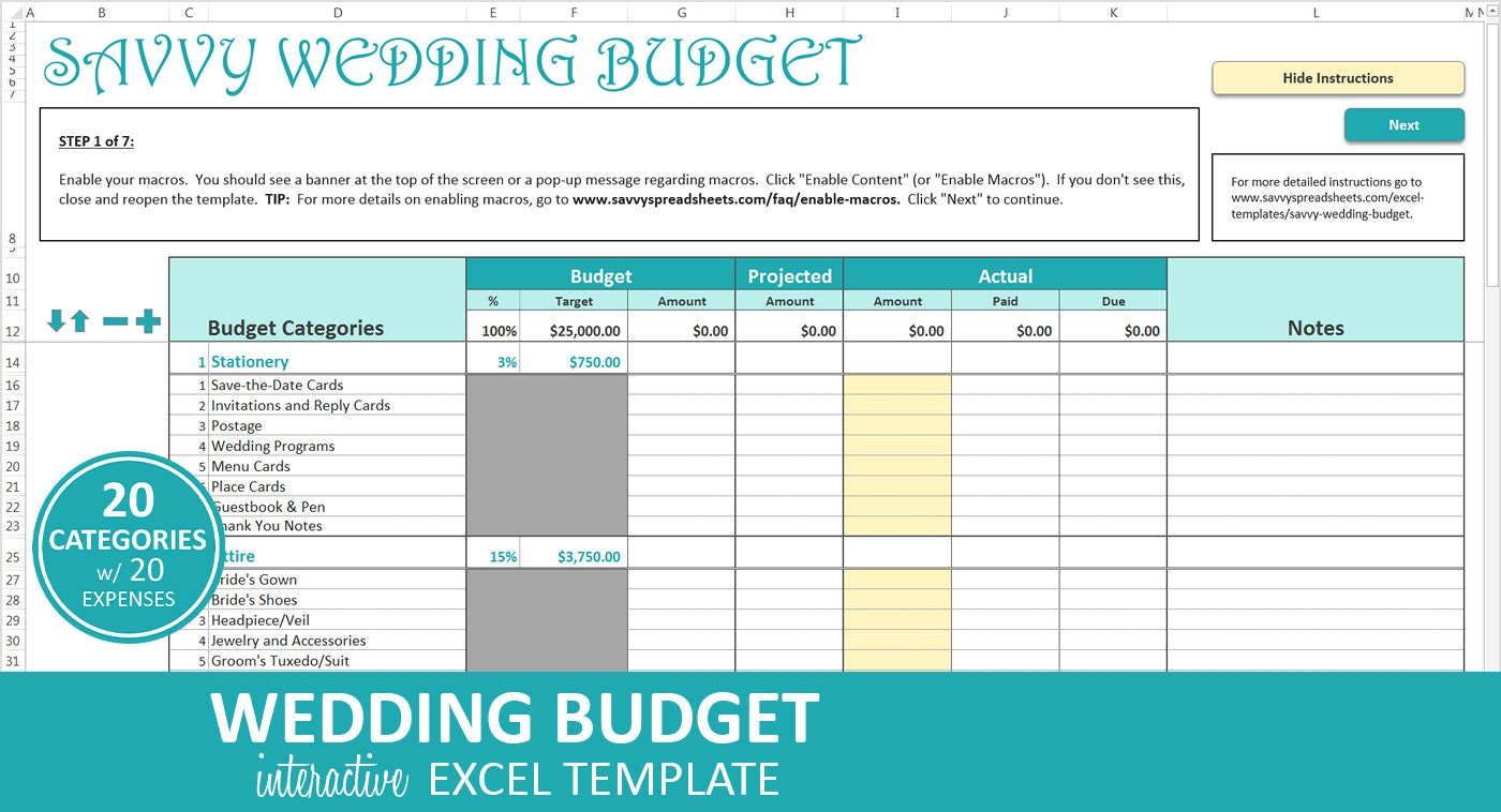 Wedding Planning Template Excel