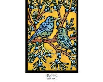 """Blue Birds - 8""""x10"""" Unframed Giclee Print"""