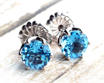 14K White Gold 6MM Round Swiss Blue Topaz Stud Earrings, Caribbean Blue Topaz, Solid Gold
