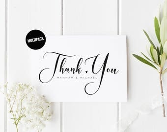 Pesonalized Thank You Wedding Cards (10) Custom Thank You Card Pack, Pretty Thank You Card Set, From New Mr & Mrs, Wedding Thank You Cards