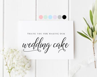 Baker Thank You Card, Wedding Cake Thank You, Card For Wedding Cake, Card For Wedding Baker, Wedding Bakery Thank You Card, Thank You Cake
