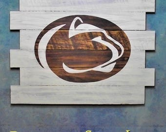 Penn State University, WhiteWash, 30X23, Burnt wall hanging, Shou Sugi Ban, Charred wood, Sports sign, Man cave, Wood Sports sign