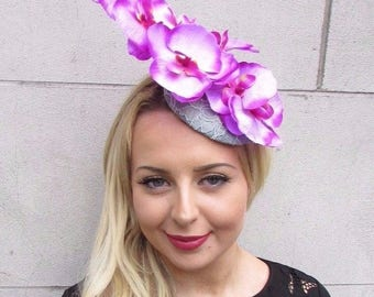 Grey Pink Purple Orchid Flower Fascinator Hat Pillbox Races Wedding Clip 3362