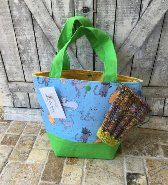 Mini Tote Bag-Cat lovers Fabric Knitting Bag,Sock Tote Bag,Cat Project Tote Bag,Crochet Project,Knitting Project Bag,Toad Hollow bags