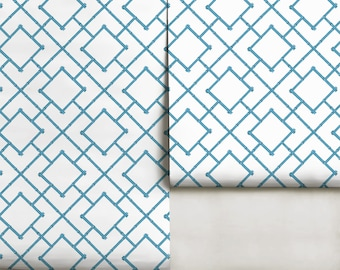 Jacaranda Blue Trellis Repositionable Peel 'n Stick Wallpaper Custom Sizes and Colors!