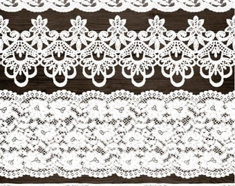 White Lace Border Clip Art. Wedding Lace Clipart. Shabby, Rustic Lace Overlays. White Vintage Seamless Lace. Bridal Shower, Wedding Clipart.