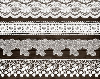 Wedding Lace Clip Art. White Lace Border Clipart. Shabby, Rustic Lace Overlays. Bridal Shower, Wedding Clipart. Vintage White Seamless Lace.