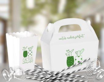 Cactus Party   Favor Boxes   Scalloped Popcorn Box or Gabble Box   Custom Foil Party Favors   social graces and Co.