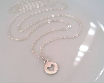 sterling silver heart necklace; heart cutout necklace; hearts disc necklace; simple silver necklace; small heart; tiny heart necklace silver