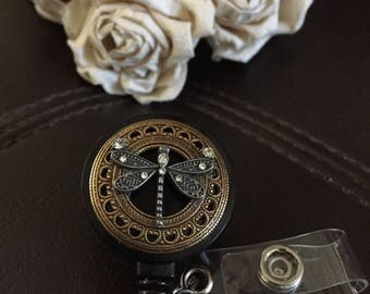 Dragonfly badge reel, dragonfly gift, badge clip, badge holder, retractable badge reel