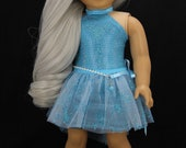 Handmade 18 inch doll clothes - Aqua blue halter dress with high low tutu skirt (837)