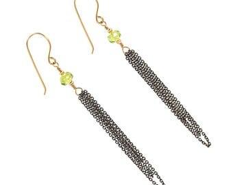 Long Earrings - Long Earrings for Women - Peridot Earrings for Women - Peridot Earrings