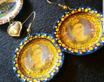 Frida bottle caps earrings