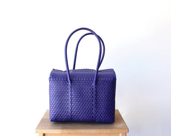 Bright Purple Mexico Bag, Handwoven Mexican Tote, Oaxaca Tote, Mexican Plastic Bag, Mexican Basket, Mexican Art, MexiMexi, Picnic Basket