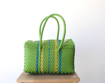 Green Olive Mexico Bag, Handwoven Mexican Tote, Oaxaca Tote, Mexican Plastic Bag, Mexican Basket, Mexican Art, MexiMexi, Picnic Basket