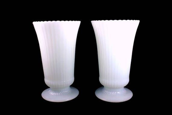 Milk Glass Vase, E O Brody, Co., White, Ribbed, Pedestal, Made in USA, Scalloped Edge, Wedding Vases
