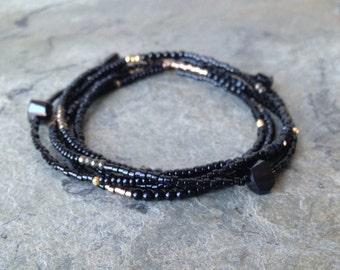 Black with Gold Vermeil Long Beaded Necklace or Wrap Bracelet