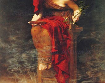 "John Collier ""Priestess of Delphi"" 1891 Pythia High Priestess Temple of Apollo Oracle of Delphi Reproduction Digital Print  Wall Home Decor"