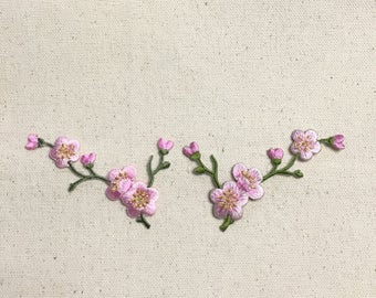Cherry Blossom - Pink Flowers - Green Stem - LEFT or RIGHT - Iron on Applique - Embroidered Patch - 611517