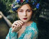 Blue and green flower crown with red details Wedding accessories Bridal flower crown Wedding hair wreath Magaela Handmade product