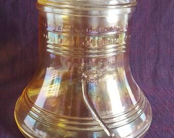 Liberty Bell Carnival Glass Cookie Jar, Canister , Bartlett & Collins 1976 Commemorative Bicentennial