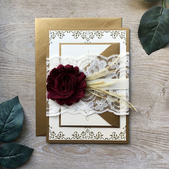 JENNIFER - Burgundy and Gold Lace Wedding Invitation - Lace Belly Band - Ivory Lace Wrap with Burgundy Chiffon Flower and Gold Feathers
