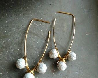 Pom pom earrings, gold pom pom earrings, white pompom earrings, fun beaded earrings